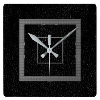 Horloge murale encadrée moderne de cuir de Faux,