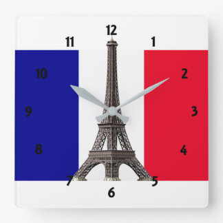 Horloge murale française de carré de drapeau de