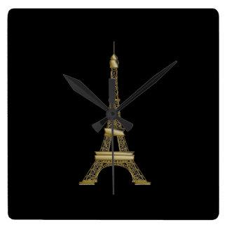 Horloge murale française de Tour Eiffel de noir et