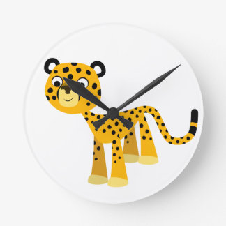 Horloge murale heureuse mignonne de guépard de
