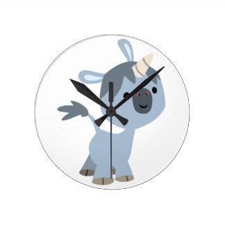 Horloge murale heureuse mignonne de licorne de