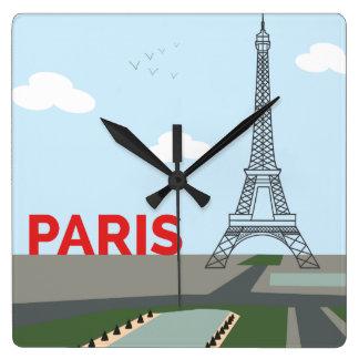 Horloge murale illustrée par Tour Eiffel de Paris