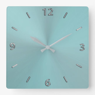 Horloge murale métallique moderne d'Aqua pâle
