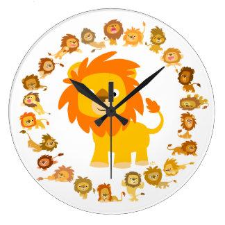 Horloge murale mignonne de mandala de lion de
