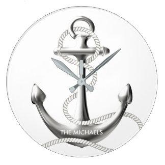 Horloge murale nautique d'ancre argentée
