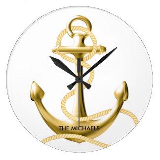 Horloge murale nautique d'ancre d'or personnalisée