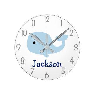 Horloge murale nautique de crèche de baleine