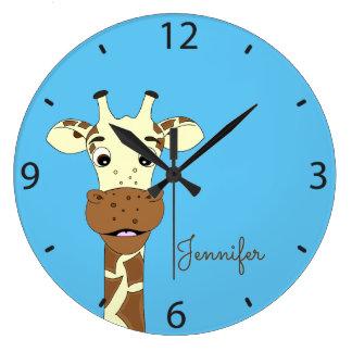 Horloge murale nommée de girafe d'enfants bleus