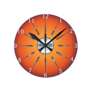 Horloge murale orange rouge rustique