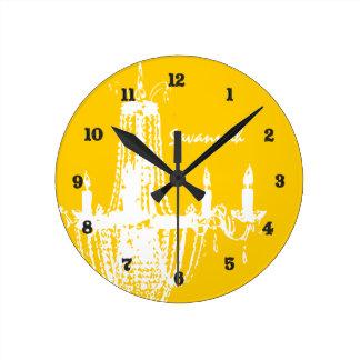 Horloge murale personnalisée de lustre de jaune de