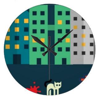 horloge murale ronde de chats de rue de ville de