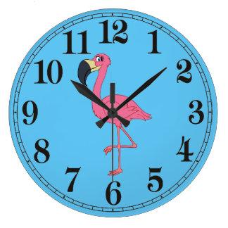 Horloge murale ronde de flamant rose (grande)