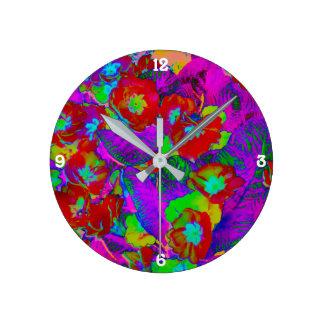 Horloge murale ronde de fleurs tropicales