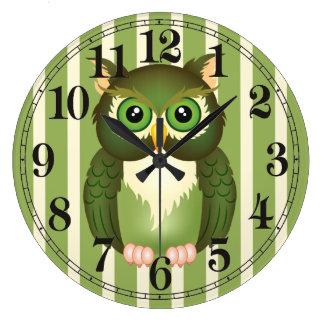 Horloge murale ronde de hibou vert (grande)