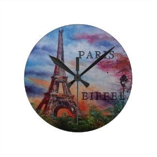HORLOGE MURALE RONDE DE PARIS EIFFEL