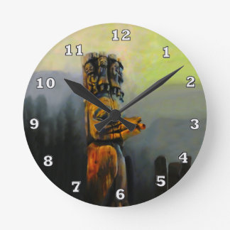 Raven Totem Pole Round Wall Clock