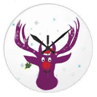 Horloge murale ronde de Rudolf de renne de Père