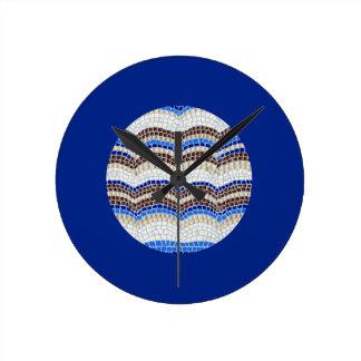 Horloge murale ronde moyenne de mosaïque bleue