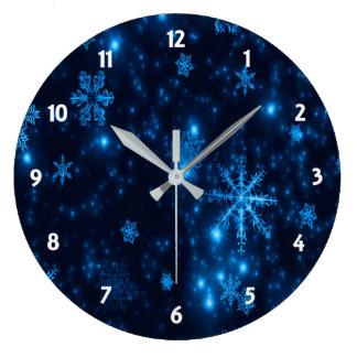 Horloge murale ronde profonde de flocons de neige