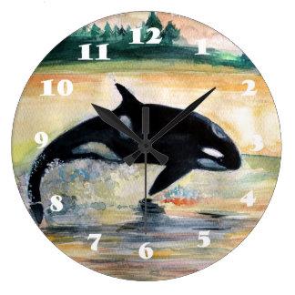 Horloge murale ronde sautante d'orque de baleine