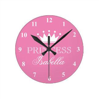 Horloge murale rose de couronne de princesse pour
