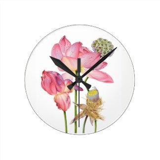 Horloge murale rose de tige de Lotus