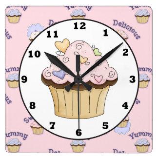Horloge murale rose délicieuse de cuisine de