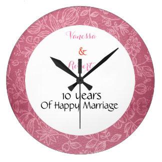 Horloge murale rose florale d'anniversaire de