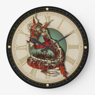 Horloge murale rouge chinoise de dragon