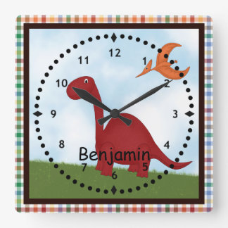 Horloge murale rouge du dinosaure des enfants
