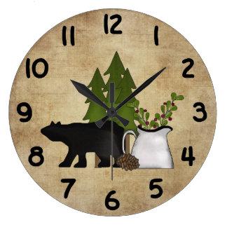 Horloge murale rustique d'ours de montagne de pays