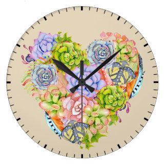 Horloge murale succulente de coeur