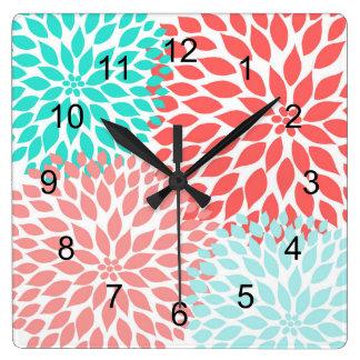 Horloge murale turquoise de corail de décor de