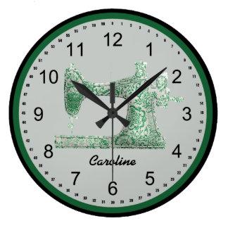 Horloge murale verte de machine à coudre de