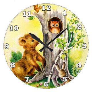 Horloge murale vintage d'enfants d'animaux de