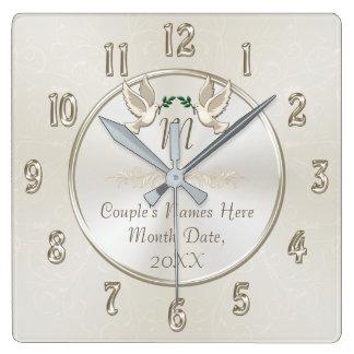 Horloge personnalisée de cadeaux de mariage de