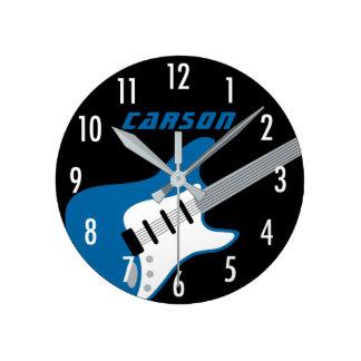 Horloge personnalisée | de guitare bleu, gris,