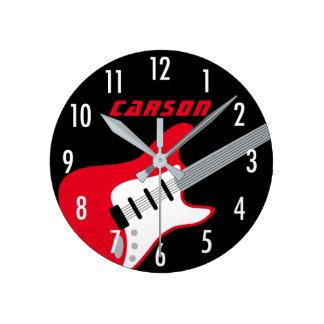 Horloge personnalisée | de guitare rouge, gris,