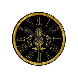 Horloge Ronde Ananas d'hospitalité et votre arrière - plan de