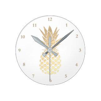 Horloge Ronde ananas d'or élégant