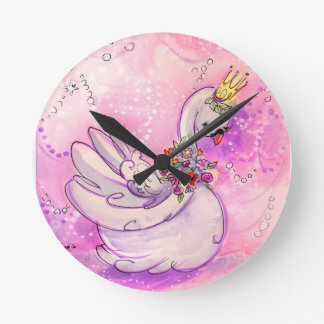 Horloge Ronde Aquarelle de cygne d'anniversaire