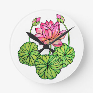 Horloge Ronde Aquarelle Lotus rose avec les bourgeons et le