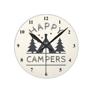 Horloge Ronde Arbres rustiques de tente de camping des