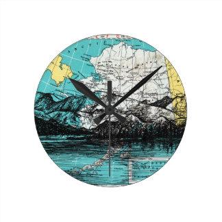 Horloge Ronde Art de carte de l'Alaska