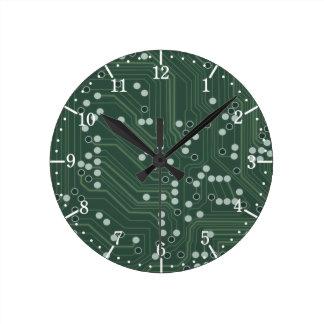 Horloge Ronde Art vert de motif d'arrière - plan de carte