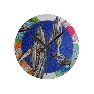 Horloge Ronde Baleines de famille