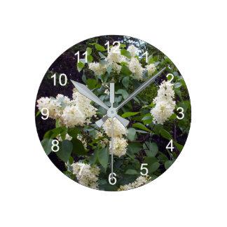 Horloge Ronde Beau Bush lilas blanc