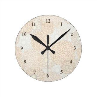 Horloge Ronde Beau floral rustique beige