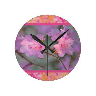 Horloge Ronde Beau plat floral rose