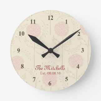 Horloge Ronde Beau rose et Brown floraux